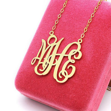 Bridal jewelry monogram necklace 1 inch plated in gold --3 initial nameplate monogram necklace