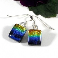 Rainbow Dichroic Glass Earrings, Fused Art Glass, Orange Green Blue