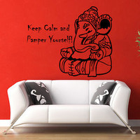 Yoga Wall Decals Quote Keep Calm Vinyl Decal Elephant Murals Bedroom Decor KG796