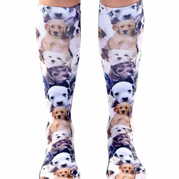 Puppy All Over Knee High Socks