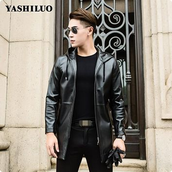 2017 New Arrival Mens Hooded Long Sheep Skin Genuine Leather Jackets Jaqueta De Couro Motorcycle Blouson Cuir Homme Male Coat