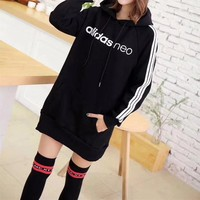"""Adidas Neo"" Women Sport Casual Stripe Middle Long Section Long Sleeve Hooded Sweater Mini Dress"
