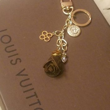authentic LV canvas Rose charm