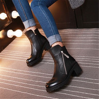 Winter Genuine Leather Women Ankle Boots High heels Fashion Platform Ladies Sexy Woman Black fashion ankle leather boots Shoes