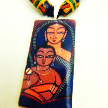 Indian Folk art - Mother and Child - Clay Tile Art Pendant on Deep Purple Sari silk ribbon with Sand Cast beads