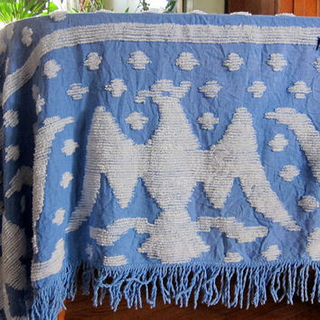Vintage blue and white Eagle bird chenille blanket / cutter bedspread blanket with fringe