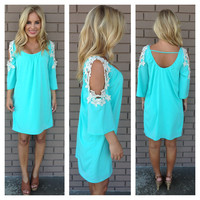 Oceanic Aqua Crochet Shoulder Dress
