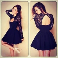 Black Lace Spliced Hollow-out Backless Halter Long Sleeve Homecoming Clubwear Cocktail Party Lace A-line Dress