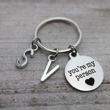 Double custom initials you're my person silver key ring
