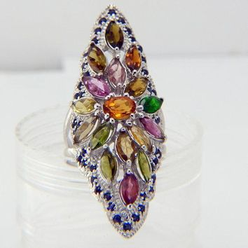 Vintage Half Finger Citrine, Sapphire and Tourmaline Ring