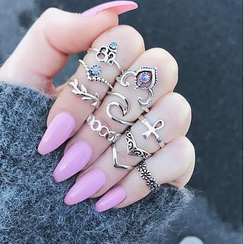 Stylish Trending Women Retro Gems Ring 10 Pieces Set Rings I12905-1