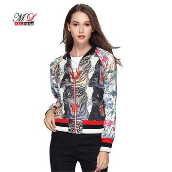 Trendy MLinina Floral Bomber Jacket Women Spring Embroidered Print Tiger Thin Long Sleeve Zipper Boho Chic Zipper Streetwear Basic Coat AT_94_13