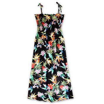 Jungle Black Maxi Hawaiian Dress