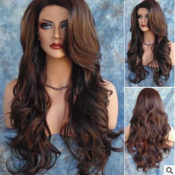 Long Loose Wavy Syntheic Wig Front Wig Curly Full Natural Hair Wigs Women Black