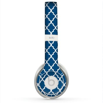 The Navy & White Seamless Morocan Pattern Skin for the Beats by Dre Solo 2 Headphones