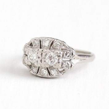 Vintage 14k White Gold .56 CTW Diamond Cluster Ring - Size 6 1/2 Late Art Deco 1940s Fine Engagement Bridal Halo Jewelry
