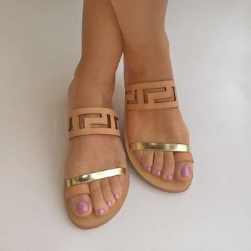 Meandros sandals / Ancient Greek leaather sandals/ Big size sansals/ Women's sandals
