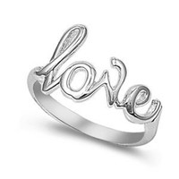 925 Sterling Silver Cursive Love Ring