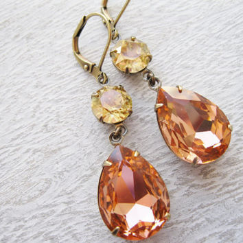 Peach Champagne Earrings, Old Hollywood, Vintage Style, Wedding Jewellery, Peach Bridesmaid, Rustic Glam, Antique Brass, Fall Wedding