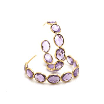 Tresor Collection - 18k Yellow Gold Medium Gemstone Hoop Earrings in Amethyst