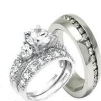 925 Sterling Silver and Stainless Steel His and Her 3pc Wedding Ring Set