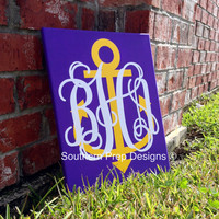 Custom Preppy Monogram and Anchor Vinyl Board