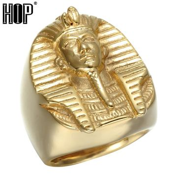 HIP Hop Gold Color Mysterious Egyptian Pharaoh Rings Rock Titanium Stainless Steel Mens Signet Bling Ring for Men Jewelry