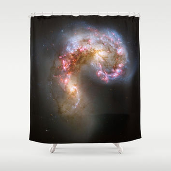 Bright nebula galaxy stars cluster hipster geek cool space star nebulae NASA photo sci-fi landscape Shower Curtain by iGallery