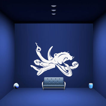 Wall decal decor decals sticker art design vinyl octopus clever tentacles fish jellyfish deep sea ocean animals bedroom (m1138)