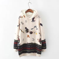 Casual Pattern Print Top Sweater Pullover Hoodie