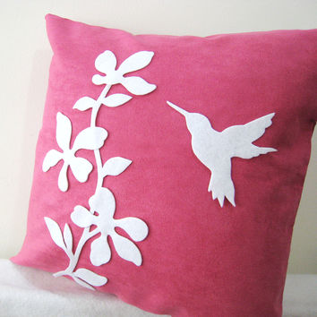 Pick Your Color. Pretty Florals Humming Bird Fuchsia White Decorative Pillow Cover. 16inch Flowers Botanical Cushion Cover. New Home Gift