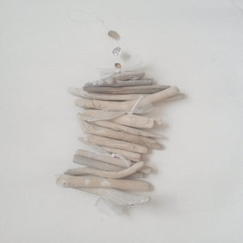 Driftwood, driftwood beach decor, driftwood decor, driftwood hanger, driftwood ornament, driftwood and lace, driftwood decoration, mobile