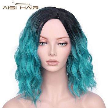 "It's a wig Synthetic Ombre Red Blue Pink Wigs Short  Black Hair for  Women's  14""Long  Water Wave  False Hair"