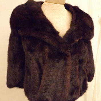 60s Vintage Real Mink Fur Cape Wrap Shawl Furs by Richard