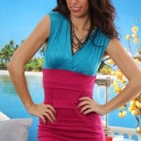 BLUE FUCHSIA TWO TONE CROSS FRONT V NECK SEXY SLEEVELESS MINI DRESS @ Amiclubwear sexy dresses,sexy dress,prom dress,summer dress,spring dress,prom gowns,teens dresses,sexy party wear,women's cocktail dresses,ball dresses,sun dresses,trendy dresses,sweate
