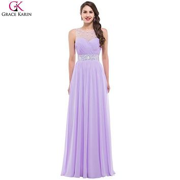 Long Purple Bridesmaid Dresses 2017 Grace Karin Backless Chiffon Sequin Beads Elegant Gowns Formal Dress Pink Bridesmaid Dresses