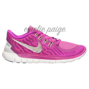 Nike Free 5.0 (Fuchsia) running shoes with Swarovski Crystals
