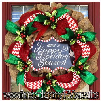 Burlap Christmas wreath - Happy holidays wreath - Christmas wreath - burlap holiday wreath - holly wreath