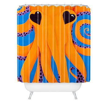 Mandy Hazell Wish I Was An Octopus Shower Curtain