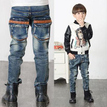 PEAP78W Children Cowboy Pant Fashion Baby Boys Denim Jeans Long Pants Trousers Children's Clothing for Boy Casual Denim Pants