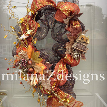 Fall Owl Wreath, Deco Mesh Door Wreath, Autumn Floral Swag, Brown Orange Foliage, Owl Wreath, Burlap Door Wreath, Leaves Berries and Acorns