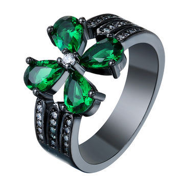 vintage black gold plated promise Rings new fashion green flower jewelry gift princess czech zircon Purity Rings Ring for women
