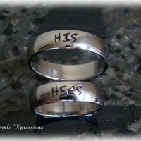 Matching Promise Rings - 2 Polished Stainless Steel Hand Stamped Rings