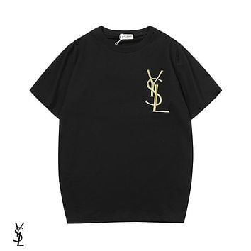 YSL Yves Saint Laurent Summer Popular Women Men Embroidery Tunic Top Tee Shirt Black