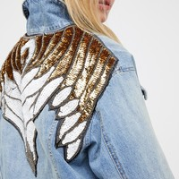 Free People Glam Embellished Denim Jacket