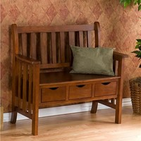 Mission%26#45;Style 3%26#45;Drawer Country Storage Entryway Bench