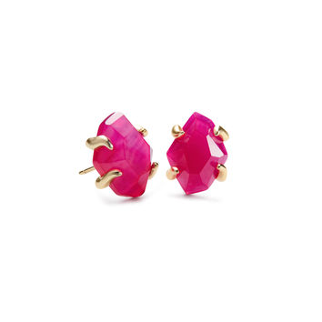 Inaiyah Gold Stud Earrings Pink Agate | Kendra Scott