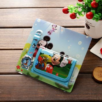 New Children Cartoon Wallet Watch Set Spiderman Hello Kitty Mickey Minnie Watches Students Birthday Gifts Quartz Leather Clock