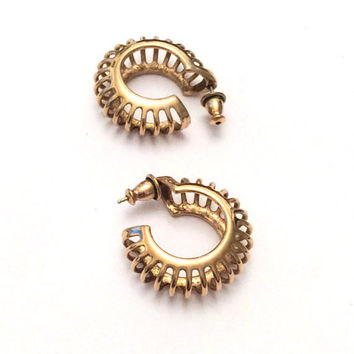 Monet Earrings, Gold Hoops, Pierced, 1960s Vintage Jewelry