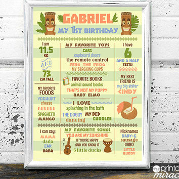 Hawaiian Birthday Party Milestone Board 1st Birthday Poster - Custom printable first Birthday Board - 1st Birthday Sign - Tiki party Digital